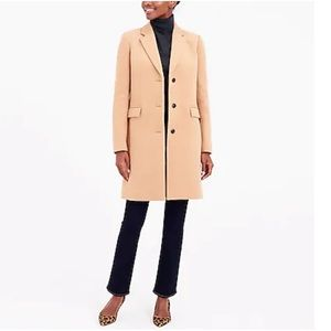 J Crew Factory Wool Top Coat Camel Brown Tan